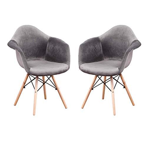 N/A - Juego de 2 sillas de comedor de cocina, sillas de diseño con respaldo de lino, piezas de madera maciza sillones de tela multicolor con revestimiento de patchwork (gris antracita)