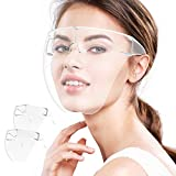 Face Shield, 2 Pack Clear Safety Face Shields with Glasses Frame Full Face Protective Reusable Goggle Shield Anti-Fog Anti-Spitting & Scratch Resistant Suitable for Indoor and Outdoor Activities