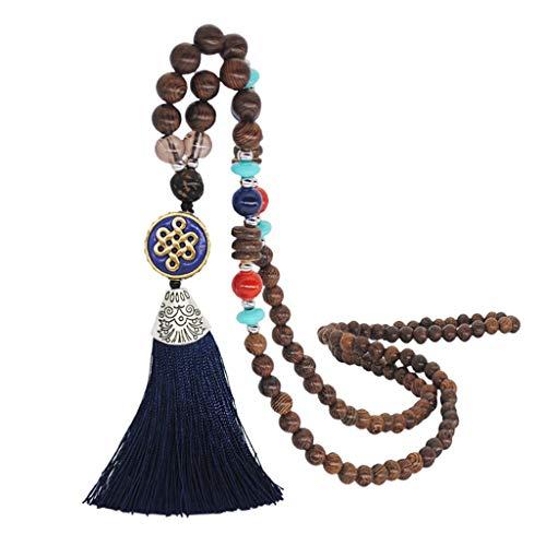 Winkey Frauen böhmischen Anhänger Quaste Pullover Kette handgemachte Holzperlen Halskette (J)