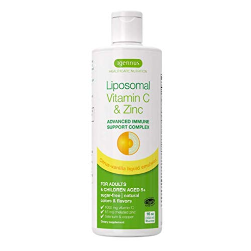 Igennus Liposomal Vitamin C 1000mg & Zinc, High Absorption Liquid Immune Support, with Copper & Selenium, Adults & Kids