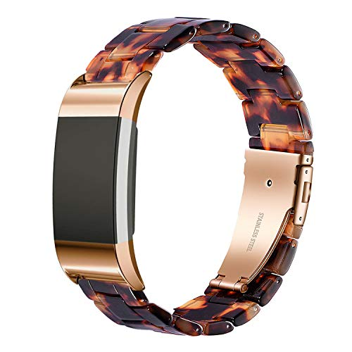 Wongeto Resin Band Compatible with Fitbit Charge 2 for Women Men,Fashion Resin Band Bracelet Wristband Strap for Fitbit Charge 2 HR Wristbands (Rose Gold+Tortoise)