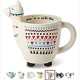 White Ceramic Coffee or Tea Mugs: Tri-Coastal Design'You're A Cute-Tea' Llama Coffee Mug with Hand Printed Designs and Printed Saying - 18.6 Fluid Ounce Large, Cute Handmade Cup