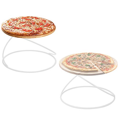 MyGift Modern Black Metal Wire Spiral Design Tabletop Circular Pizza Tray Risers Serving Display Stands, Set of 2