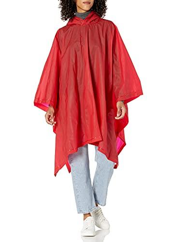 totes Poncho de lluvia unisex, ligero, reutilizable y plegable, protección contra la lluvia sobre la marcha, Rojo, Talla única