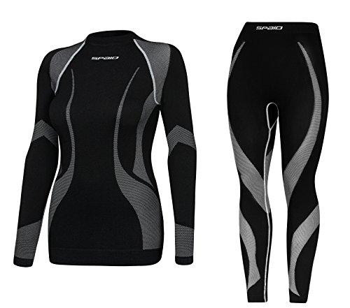 Spaio® set - dames ski ondergoed functioneel, motorfiets, thermisch, ademend met platte naad techniek (gemaakt in Italië)