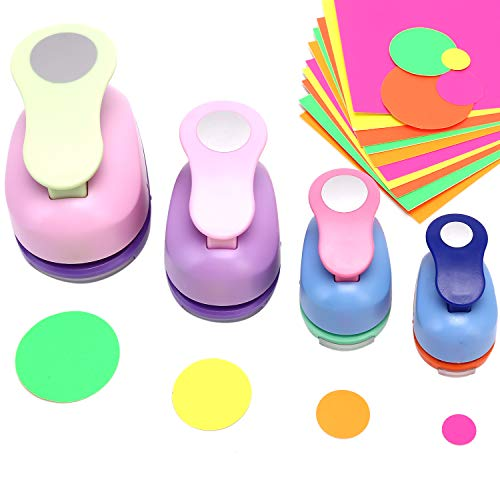 4 pcs Cirlce Punch Set 2 Inch 1 Inch 5/8 Inch 3/2 Inch - Buytra Scrapbook Paper Punchers, Circle Craft Punches with 10 PCS Colored Craft Papers, Round Shape Paper Punches for Card Making DIY Albums
