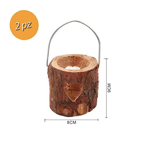 Takestop® Lantaarn voor kaarsen, 2 stuks, van hout, 8 x 9 cm, decoratie voor tafel, kaarsen, shabby, decoratie voor feestjes