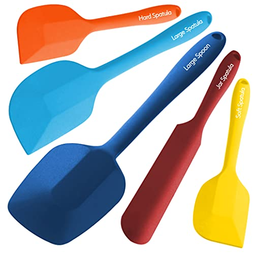Wanbasion Multicolour 5 Piece Silicone Spatula Set Heat Resistant, Kitchen Silicone Spatula Utensil Set, Rubber Spatulas for Nonstick Cookware for Cooking Baking Mixing