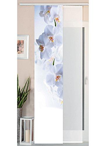 Gardinenbox 2er Set Schiebegardine Flächenvorhang Wildseide Optik und Voile Paneel, 245x45, Orchidee Weiß, 80400