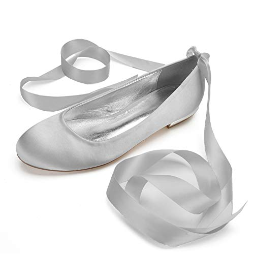 Zapatos De Boda De Novia para Mujer Marfil Punta Redonda Punta Cerrada...