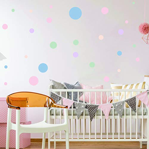 Stickers adhésifs Enfants | Stickers Autocollants 50 confettis colorés - Décoration murale chambre bébés | 40 x 40 cm