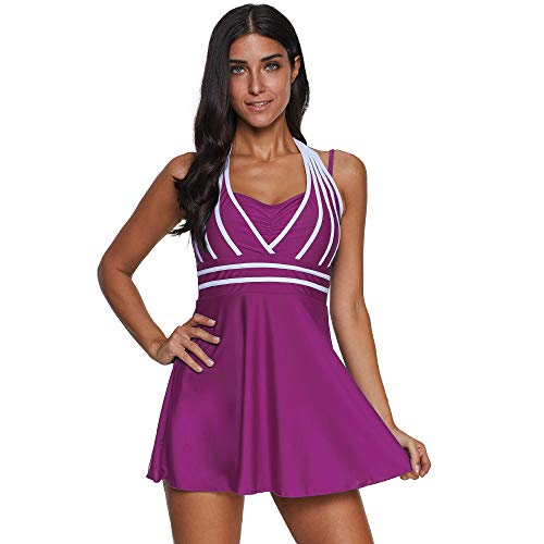 KEERADS Damen 2 Pieces Striped Print Summer Plus Size Bikini Tankini Swim Dress Swimsuit Beachwear Padded Swimwear Women Plus Size Beachwear Swimsuits Bikini Set Purple X Small