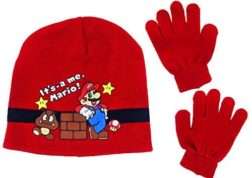 JOVAL - Set infantil unisex Gorro y guantes de invierno Mario Bros cómodo y de tacto suave perfecto para el invierno. (Rojo)