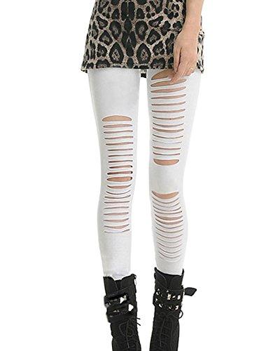 Pantalones Mujer Pantalones Rotos Pantalones Leggings Elástico Skinny Leggings Slim Blanco M