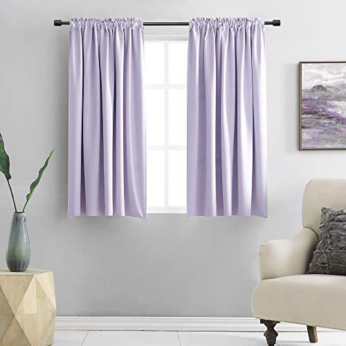DONREN Lavender Purple BlackoutCurtain Panels for Living Room - Thermal Insulated Room Darkening Rod Pocket Drapes for Window (42 x 45 Inch Length,2 Panels)