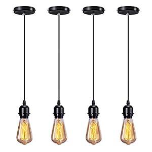 Elibbren Industrial Mini Pendant Light Kit E26 E27 Base Edison Vintage Style Black Cord Hanging Light Fixture with UL Lamp Holder for Kitchen Bedroom Home Corridor Studio Office 4 Pack