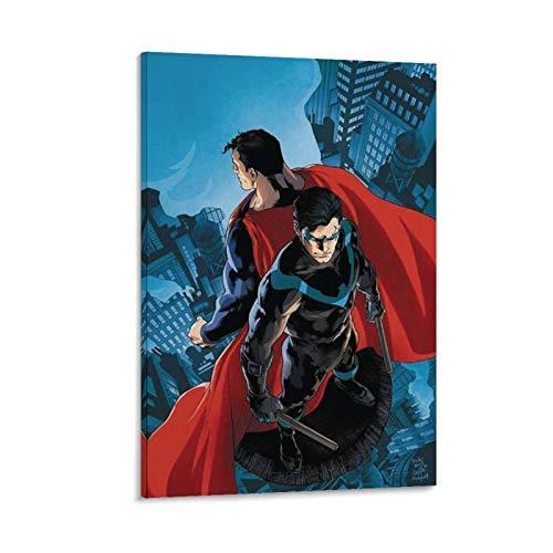 Ghychk Bat-Man & Super-Man Superhéroe Liga de la Justicia, pinturas artísticas impermeables para sala de estar, dormitorio, listas para colgar 50 x 75 cm