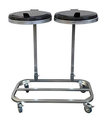 *Doppel Müllsackständer verzinkt mit 4 Rollen 120 Liter Ständer Müllbeutelhalter Müllsackhalter Abfallbehälter Gelber-Sack*