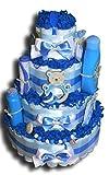WindeltortenZauber - Tarta de pañales XXL azul para niño, regalo para bebés,...