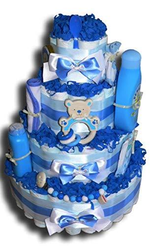 WindeltortenZauber - Teddy XXL Windeltorte blau Junge Babygeschenk Babyparty Babyshower Taufe Geburt Mitbringsel