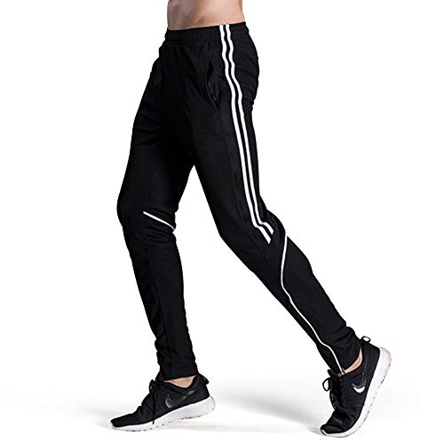 GEEK LIGHTING Men's Active Soccer Training Pants Casual Gym Jogger Sweatpants with Pockets White