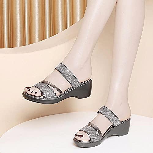 Sandalias Deslizantes Unisex,Madre afuera vestirse Zapatillas frías, cuñas de Moda con Zapatos...
