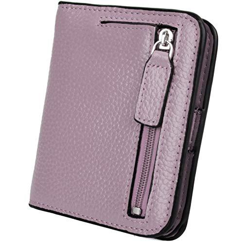 YALUXE Portafiglio Uomo o Donna in Vera Pelle Piccolo e Compatto Blocco RFID porta carte credito con finestra Viola chiaro RFID