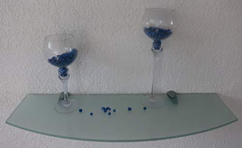 Trend-System Glas Wandregal Claro Convex, geschwungen, Badregal, klar oder satiniert, Farben/Größen wählbar, mit verschiedenen Wandhalterungen (Claro satiniert 90x20-30x1,0 cm, Clip Maxi Chrom)