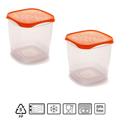 Set de 2 Coupelles hermeticos carrés avec couvercle orange de 1,4 litres – BPA Free.
