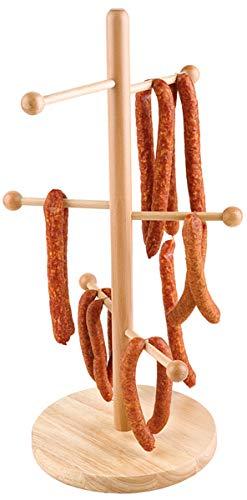 APS Brezel- oder Wurstständer - Verkaufsständer Buchen-Holz versiegelt, bestens geeignet für die Präsentation von Brezeln, Würstchen, etc, Fuß Ø 22 cm, Höhe 50cm