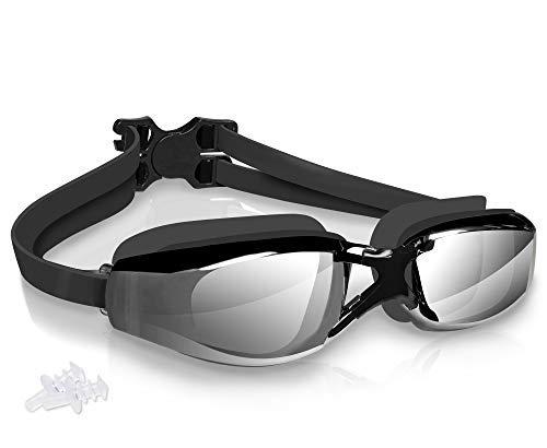 arteesol - Gafas de natación antivaho transparentes 180°, efecto panorámico, con revestimiento 100% de protección UV, con funda y tapones para los oídos, para adultos y niños (negro-2, 1 unidad)