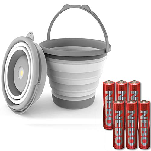 NEBO 200 Lumen 5-Liter Collapsible Bucket Flashlight COB Magnetic with 6 AAA Batteries