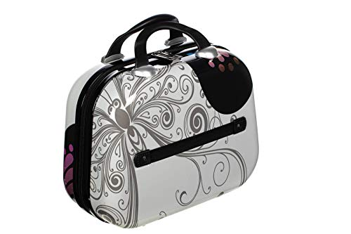 Birendy Reisekoffer Polycarbonat Hartschalen Hardcase Trolley mit Zahlenschloss Koffer Kofferset 4 Rollen einfacher Transport (A10-Schmetterling weiß, M - Beautycase 33x28 cm)