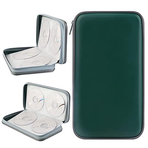 Porta CD,Coofit Borsa CD Wallet Custodia Protettiva Portatile di Rigido Disco (verde scuro)