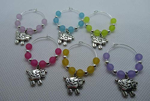 Set of 6 fun sheep lambs wine glass charms with gift card. A great gift