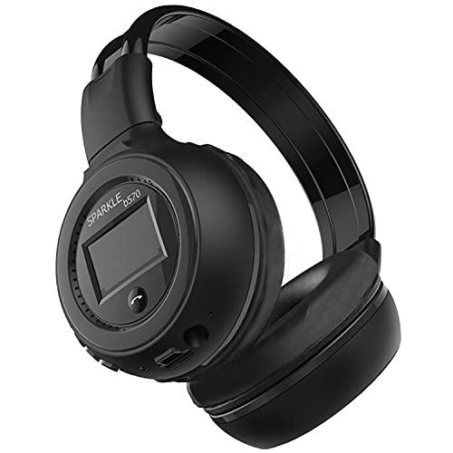 HKHuiKang B570 - Auriculares inalámbricos Bluetooth con batería, pantalla digital, versión 5.0, diseño ergonómico, Dual Drive, escuchar música, deportes al aire libre, color negro