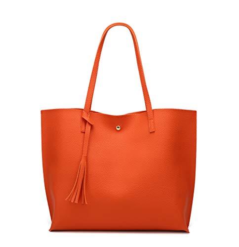 Women's Soft Faux Leather Tote Shoulder Bag from Dreubea, Big Capacity Tassel Handbag Orange