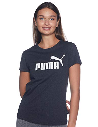 PUMA Damen ESS Logo Tee T-shirt, Dunkelgrau - Dark Grey Heather, S