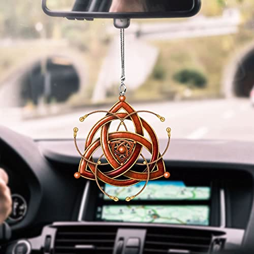 Celtic Red Sign Car Hanging Ornament, Double Sided dye-Sublimation Printing Ornament, Flat mica car Hanging Ornament, Car Rearview Mirror Hanging Ornament