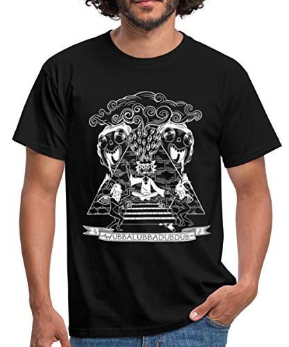 Spreadshirt Rick Et Morty Wubba Lubba Dub Dub Pyramide T-Shirt Homme, M, Noir