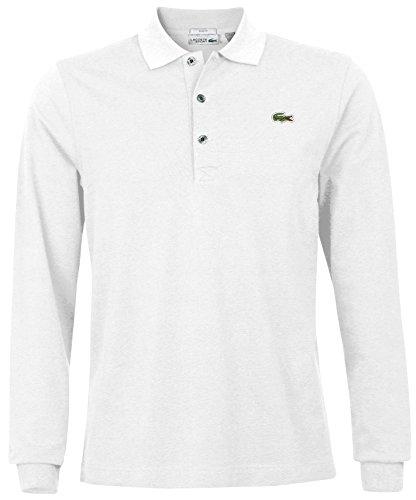 Lacoste YH9521 Sporliches Langarm Poloshirt, Long Sleeve Polo Shirt, Polohemd, super leichte Baumwolle, 100% Baumwolle Weiß (White (001)), EU 6