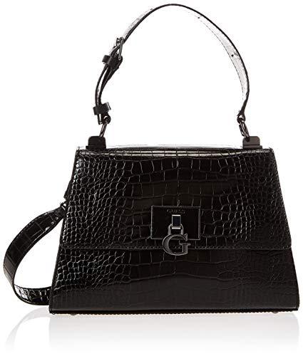Guess Stephi Top Handle Flap, bolsos para Mujer, negro, Talla única