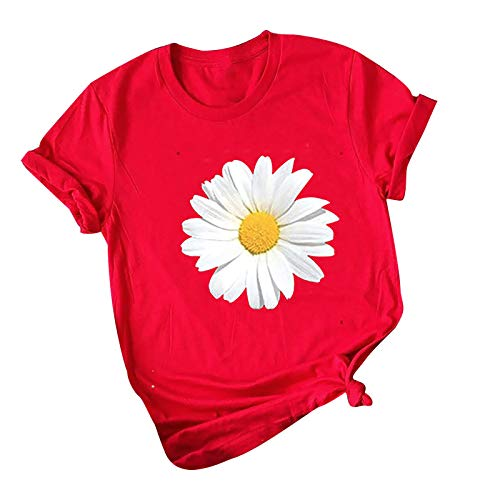 Womens Summer T-Shirt, Casual Trendy Daisy Print Loose Fit Blouse Tops Ladies Short Sleeve Cute Crewneck Comfy Clothes