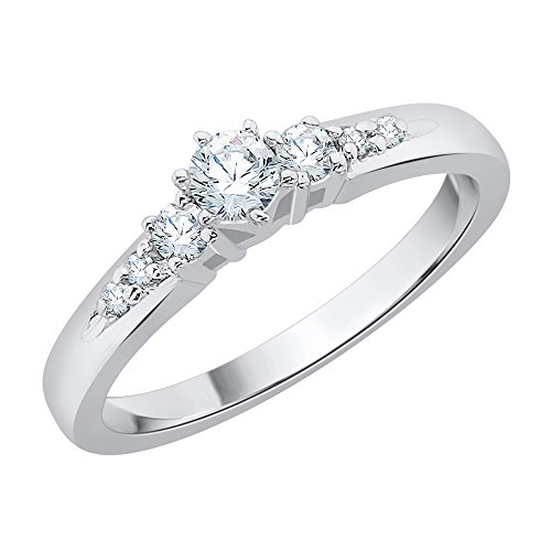 Anillo de compromiso con tres piedras y diamantes en oro blanco de 14 K (1/3 cttw) (Color-JK, Claridad-SI2/I1) (Tamaño-11.25)