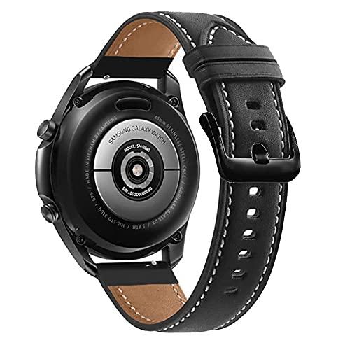 Cadorabo Pulsera de Cuero Genuino de 22 mm Compatible con Samsung Galaxy Gear S3 / Gear 2 en Negro - Pulsera de Repuesto para Huawei Watch GT para Ticwatch Pro para Pepple Time para Amazfit Pace UVM