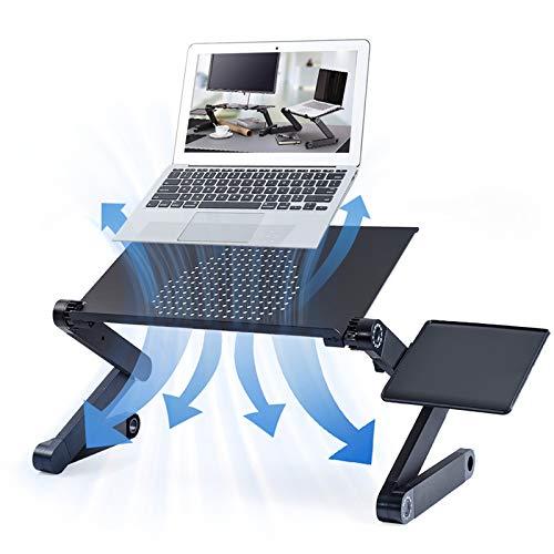 Mesa para Computadora Portátil, Mesa Ajustable para Computadora Portátil con Ventilador De Refrigeración Y Alfombrilla De Ratón para Cama Y Sofá Reclinable