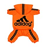 Scheppend Original Adidog Pet Clothes for Dog Cat Puppy Hoodies Coat Doggie Winter Sweatshirt Warm Sweater Dog Outfits, Orange Extra Small