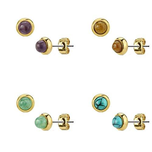Beyoutifulthings Damen 1 Paar Ohr-ring Set Ohr-Stecker Chirurgenstahl vergoldet Halbedelsteine eingefasst Amethyst Grüne Jade Tigerauge Türkis Set