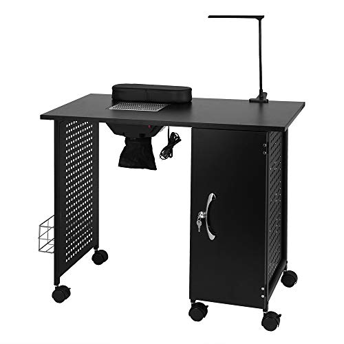 Mefeir Manicure Table Iron Frame, Nail Beauty Spa Salon Desk Workstation with Electric Downdraft Vent, Wrist Rest, Cabinet, Side Basket, Casters and LED Lamp, Black (35.4''L x 16.9''W x 29.5''H)