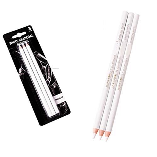 lefeindgdi 3PC weißes Kohlestiftset, Sketch Highlight Buntstifte Zeichenset Malzubehör Bleistifte zum Zeichnen, Skizzieren, Mischkreidestifte für Anfänger (Weiß1)